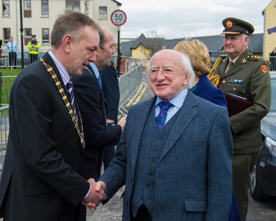 Gerry Faughnan greets President Michael D Higgins