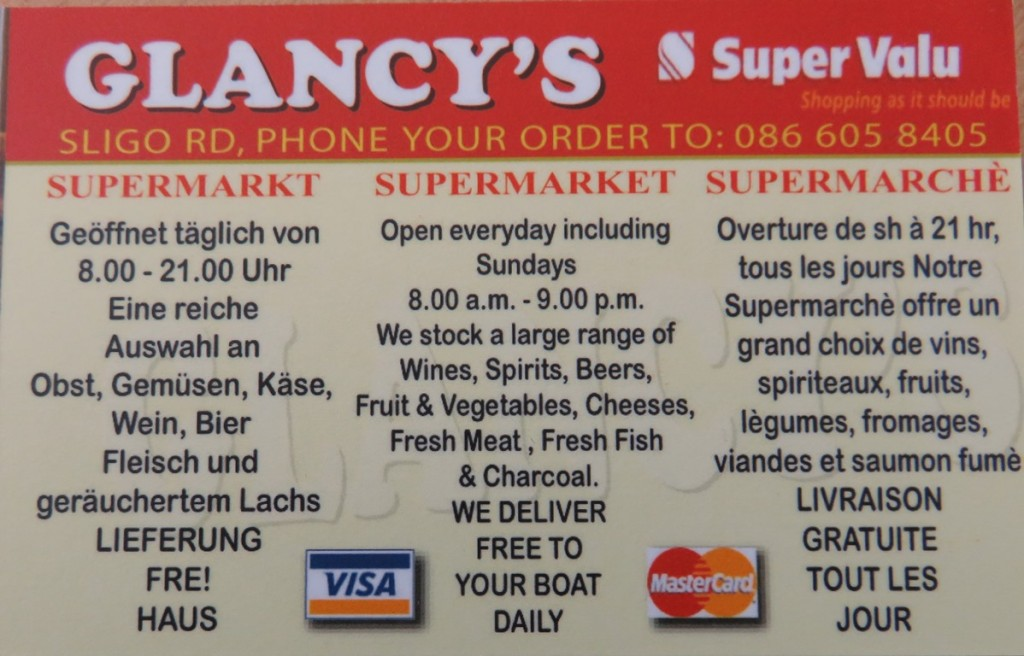 Glancys Supervalu deliver free to your boat.